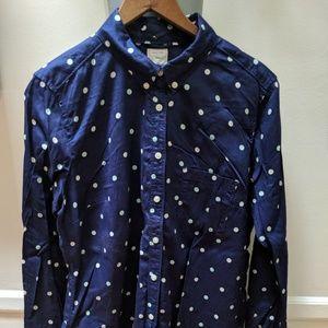 Gap blue polkadot Shrunken Boyfriend dress shirt
